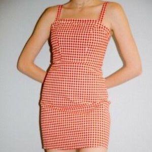 Brandy Melville Red Gingham Karla Dress